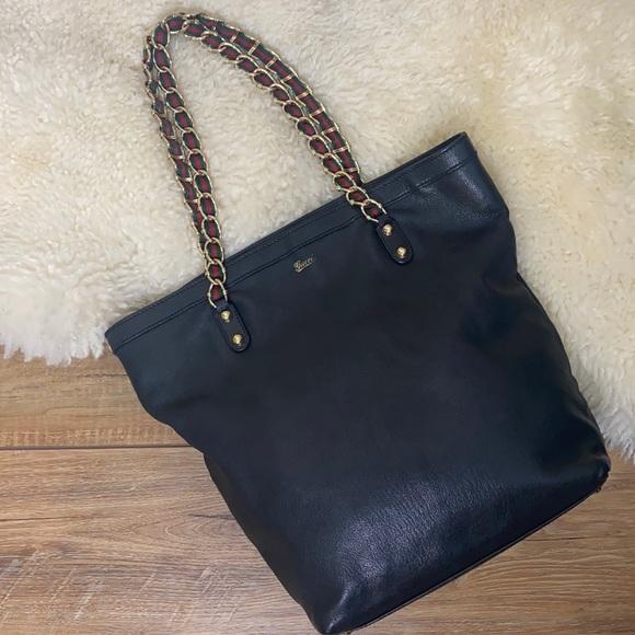 Gucci Capri Black Goatskin Leather Chain Tote